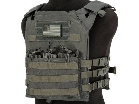 Matrix Level-1 Plate Carrier with Integrated Magazine Pouches (Color: Grey)