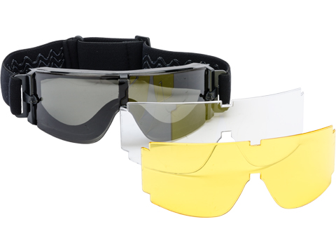 GX-1000 Anti-Fog Tactical Shooting Goggle System w/ CD Kane Strap by Matrix (Lens: 3-Lens Set / Black Frame)