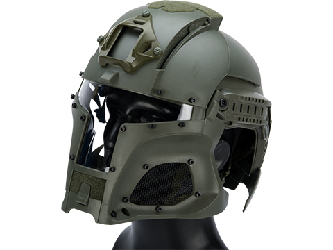 Matrix Medieval Iron Warrior Full Head Coverage Helmet / Mask / Goggle Protective System (Color: OD Green)
