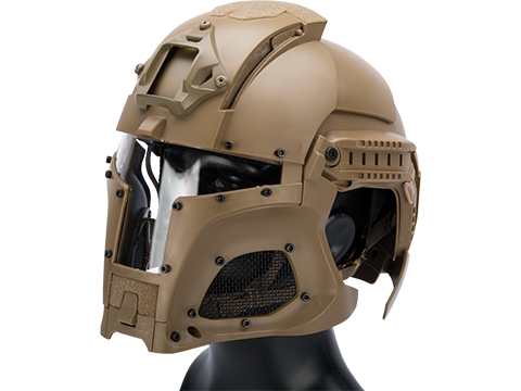 Matrix Medieval Iron Warrior Full Head Coverage Helmet / Mask / Goggle Protective System (Color: Tan)