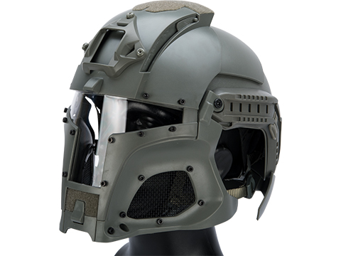 Matrix Medieval Iron Warrior Full Head Coverage Helmet / Mask / Goggle Protective System (Color: Grey)