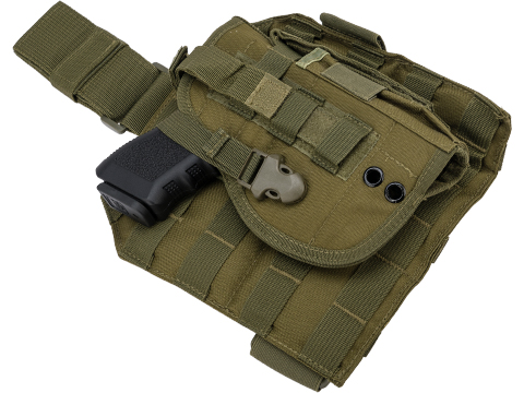 Matrix Tactical Dropleg MOLLE Panel w/ Universal MOLLE Holster (Color: OD Green)