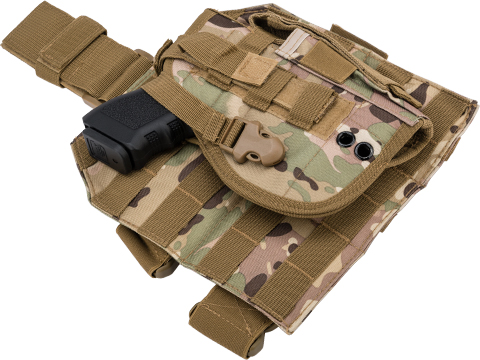 Matrix Tactical Dropleg MOLLE Panel w/ Universal MOLLE Holster (Color: Scorpion Camo)