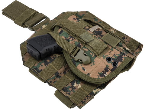 Matrix Tactical Dropleg MOLLE Panel w/ Universal MOLLE Holster (Color: Digital Woodland)