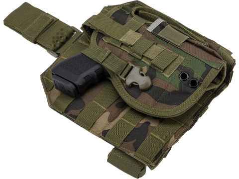 Matrix Tactical Dropleg MOLLE Panel w/ Universal MOLLE Holster (Color: Woodland)