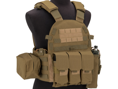Avengers 6D9T4A Tactical Vest with Magazine and Radio Pouches (Color: Tan)