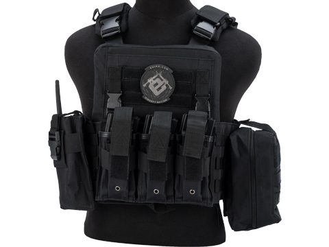 Matrix Adaptive Plate Carrier Vest w/ Cummerbund & Pouches (Color: Black)