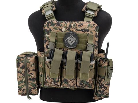 Matrix Adaptive Plate Carrier Vest w/ Cummerbund & Pouches (Color: Digital Woodland)