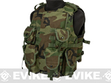 Airsoft Elite MOLLE Flak Jacket / Plate Carrier - Woodland (Large)
