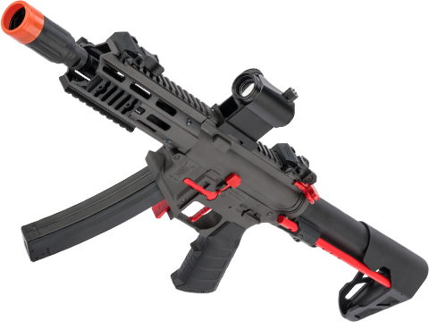 King Arms PDW 9mm SBR Airsoft AEG Rifle (Color: Grey & Red / M-LOK)