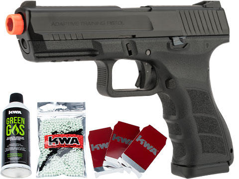 KWA ATP-LE Full Size Airsoft GBB Gas Blowback Pistol Package w/ 3 Targets, 1000rd BBs & Green Gas