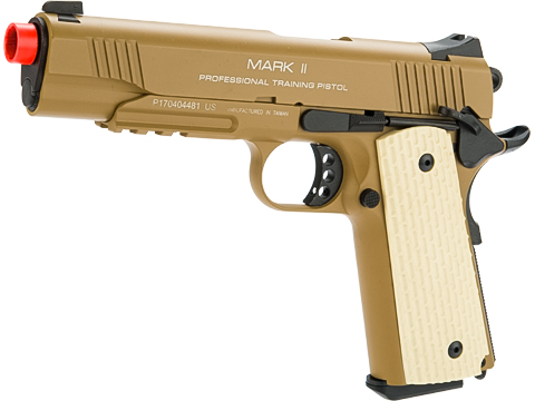 KWA Full Metal M1911 NS2 PTP w/ Railed Frame Airsoft Gas Blowback - MKII (Color: Tan)