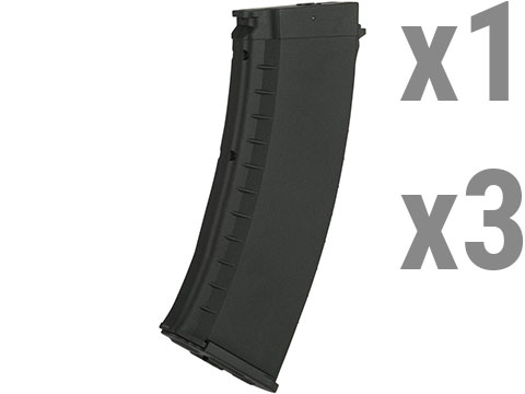 KWA AKR-74M 120rd ERG Magazines for KWA Airsoft Electric Recoil Rifles (Qty: 3 Pack / Black)