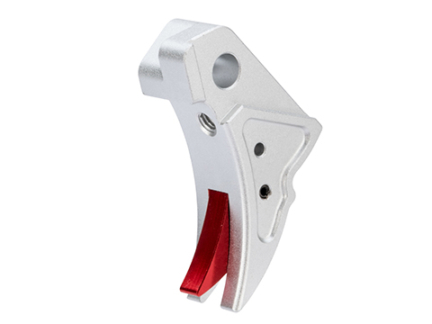 Wii-Tech Aluminum Tactical Trigger for ISSC M22, SAI BLU, Lonewolf, & Compatible Airsoft Gas Blowback Pistols (Model: Type A / Silver / Red)