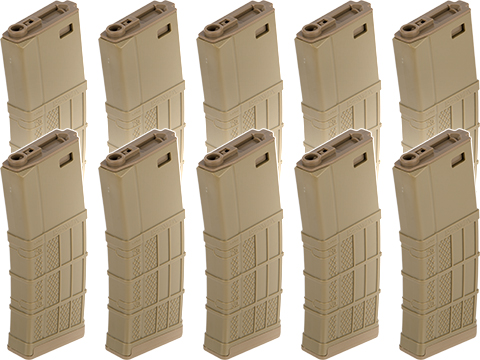 EMG 340rd Lancer Systems Licensed L5 AWM Hi-Cap Airsoft Magazine (Color: Flat Dark Earth / 10 Pack)