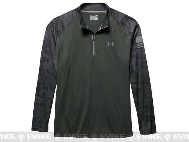 z Under Armour UA Freedom Tech 1/4 Zip Long Sleeve Shirt - Combat Green (Size: Small)