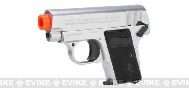 Colt Licensed 1908 Vest Pocket Hammerless .25 ACP Full Size Airsoft Replica Pistol (Color: Silver)