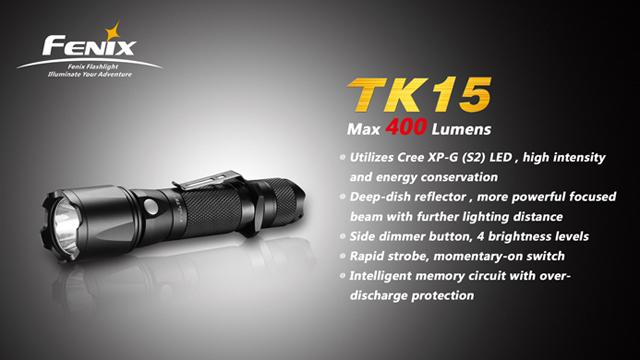 z Fenix TK15 CREE XP-G S2 LED Flashlight (400 Lumen)