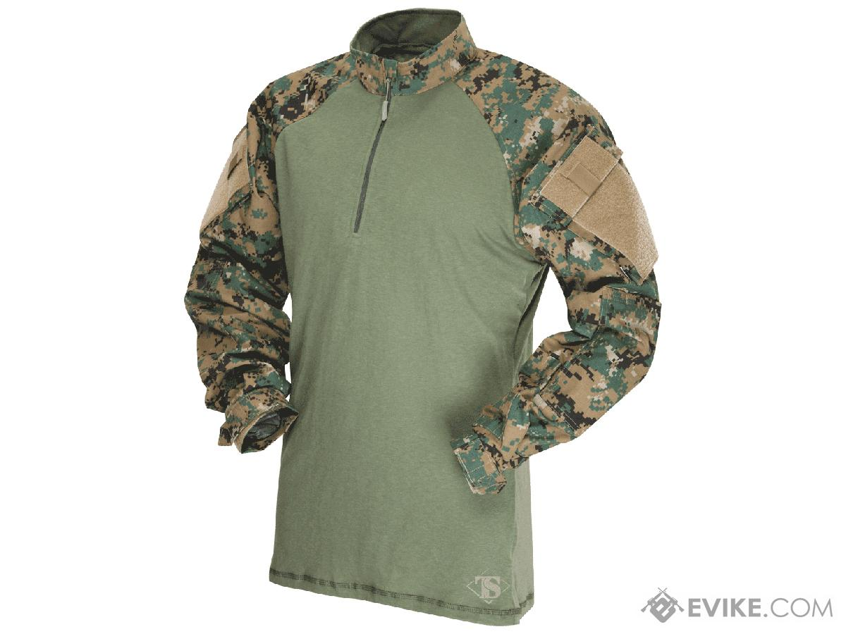 Tru-Spec Tactical Response Uniform 1/4 Zip Combat Shirt - Woodland Digital (Size: Large)