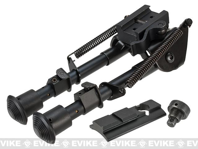 Pre-Order ETA September 2019 All-Platform Real Steel Retractable Harris Type Bipod (RIS + Stud Sniper Mount) by AIM Sports / NcStar
