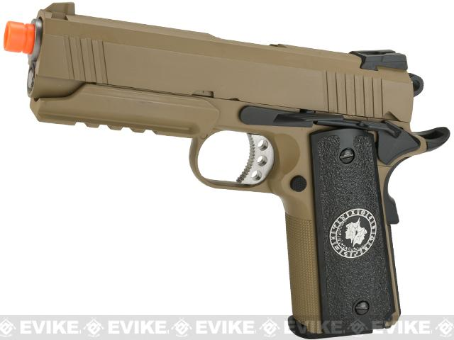 Evike.com Nostradamus Custom 1911 4.3 Desert Warrior Gas Blowback Airsoft Pistol with Angel Custom Tac-Glove Grips (Sign: Gemini)