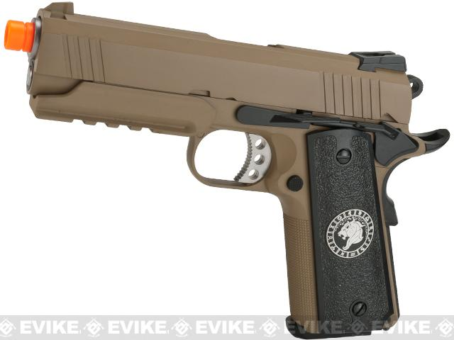 Pre-Order ETA October 2017 Evike.com Nostradamus Custom 1911 4.3 Desert Warrior Gas Blowback Airsoft Pistol with Angel Custom Tac-Glove Grips (Sign: Leo)