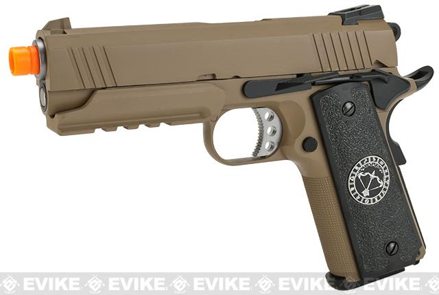Pre-Order ETA May 2018 Evike.com Nostradamus Custom 1911 4.3 Desert Warrior Gas Blowback Airsoft Pistol with Angel Custom Tac-Glove Grips (Sign: Sagittarius)