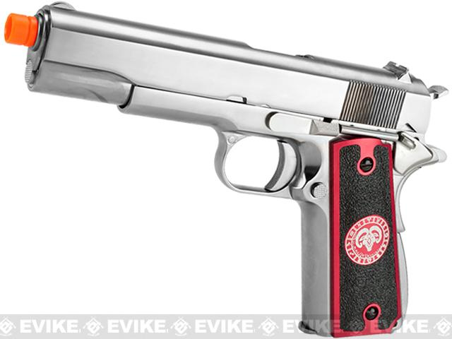 Evike.com Nostradamus Custom Stainless Steel 1911 Gas Blowback Airsoft Pistol with Angel Custom Tac-Glove Grips (Sign: Aries)