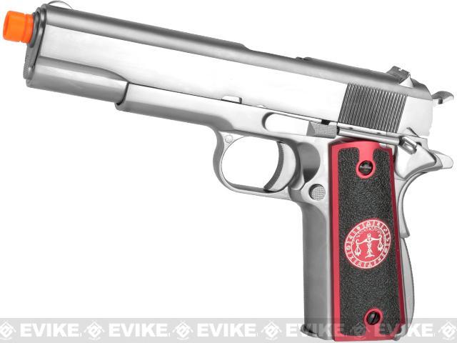 Evike.com Nostradamus Custom Stainless Steel 1911 Gas Blowback Airsoft Pistol with Angel Custom Tac-Glove Grips (Sign: Libra)