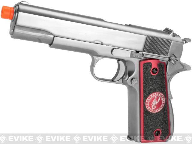 Pre-Order ETA May 2018 Evike.com Nostradamus Custom Stainless Steel 1911 Gas Blowback Airsoft Pistol with Angel Custom Tac-Glove Grips (Sign: Scorpio)