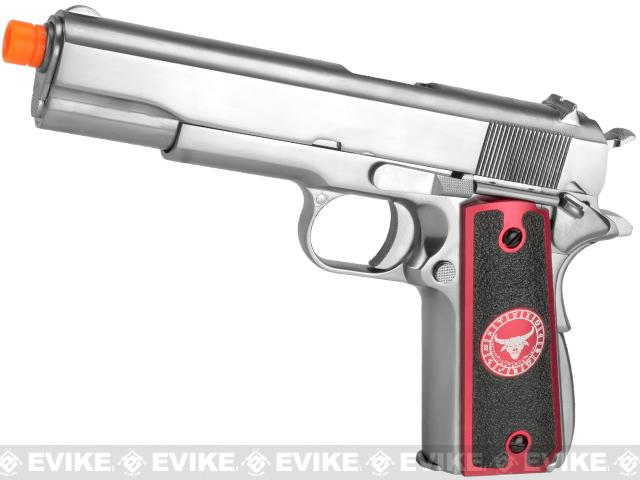 Evike.com Nostradamus Custom Stainless Steel 1911 Gas Blowback Airsoft Pistol with Angel Custom Tac-Glove Grips (Sign: Taurus)