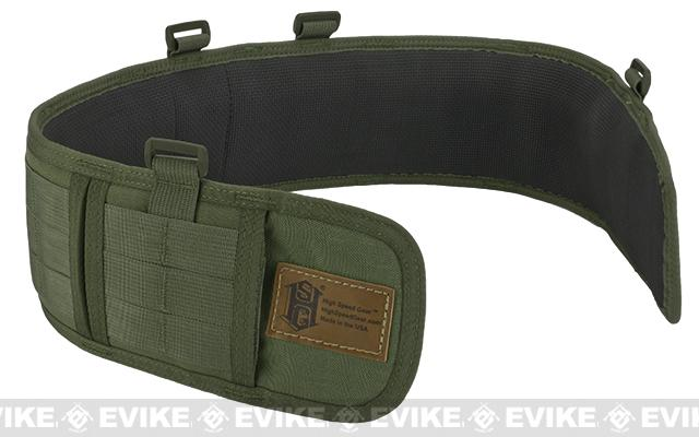 HSGI Slotted Sure-Grip Padded Duty Belt (Color: OD Green / Medium 35.5)