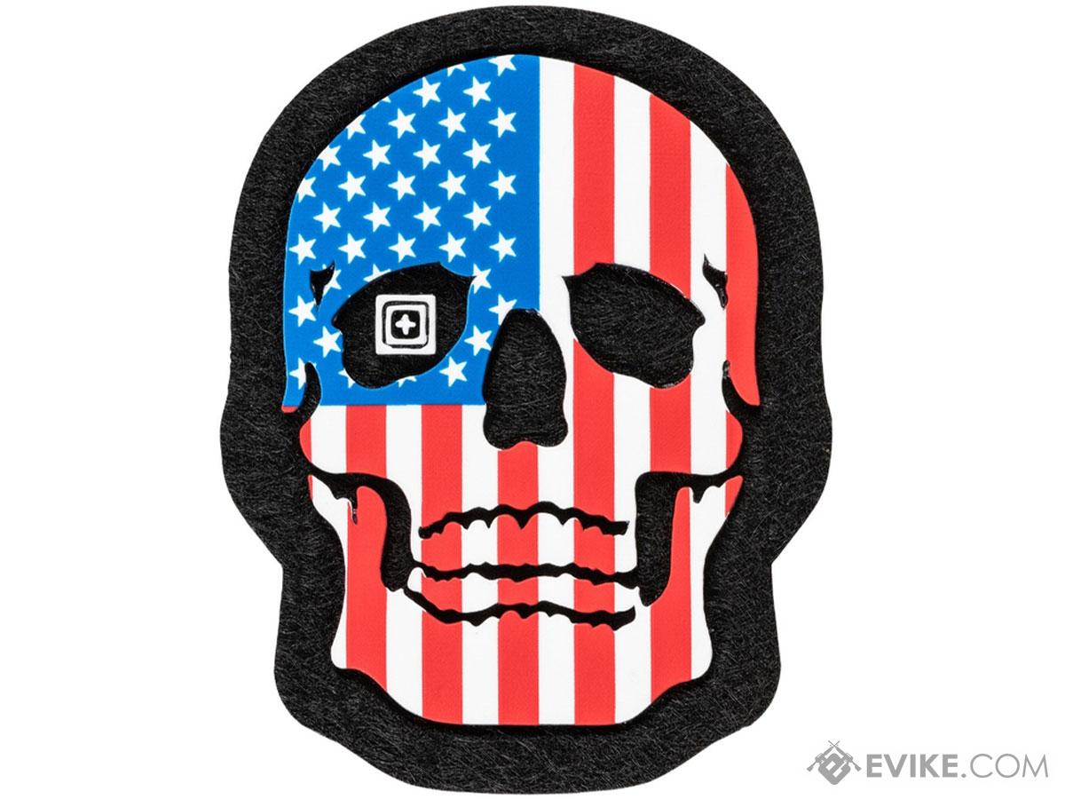 5.11 Tactical Painted Skull PVC Morale Patch (Color: American Flag)