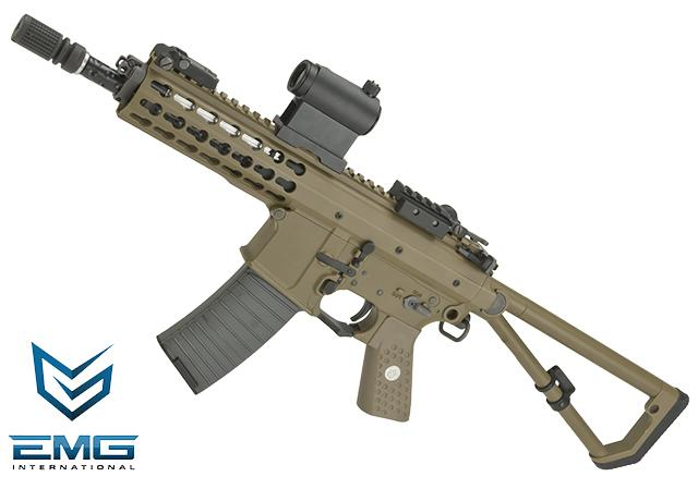 EMG Knights Armament Airsoft PDW Compact M2 Gas Blowback Airsoft Rifle (Model: Tan with CO2 Magazine)