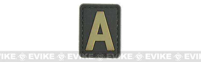 Evike.com PVC Hook and Loop Letter Patch - A (Black / Tan)