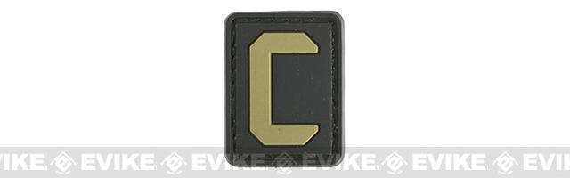 Evike.com PVC Hook and loop Letter Patch - C (Black / Tan)