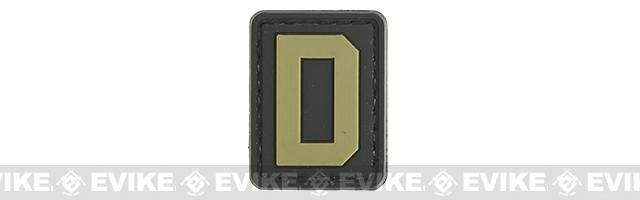 Evike.com PVC Hook and Loop Letter Patch - D (Black / Tan)