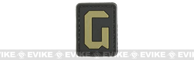 Evike.com PVC Hook and Loop Letter Patch - G (Black / Tan)