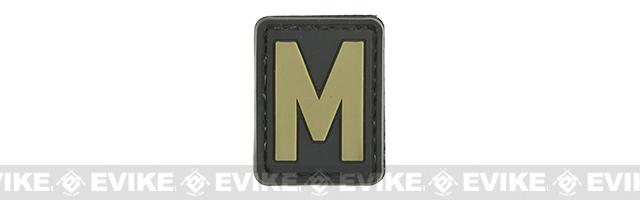 Evike.com PVC Hook and Loop Letter Patch - M (Black / Tan)