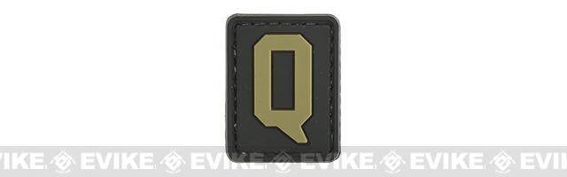 Evike.com PVC Hook and Loop Letter Patch - Q (Black / Tan)