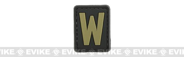 Evike.com PVC Hook and Loop Letter Patch - W (Black / Tan)