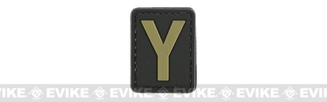 Evike.com PVC Hook and Loop Letter Patch - Y (Black / Tan)