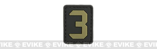 Evike.com PVC Hook and Loop Number Patch - 3 (Black / Tan)