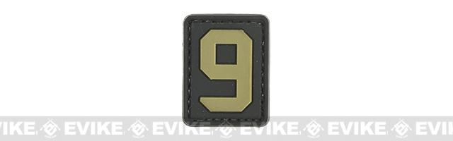Evike.com PVC Hook and Loop Number Patch - 9 (Black / Tan)