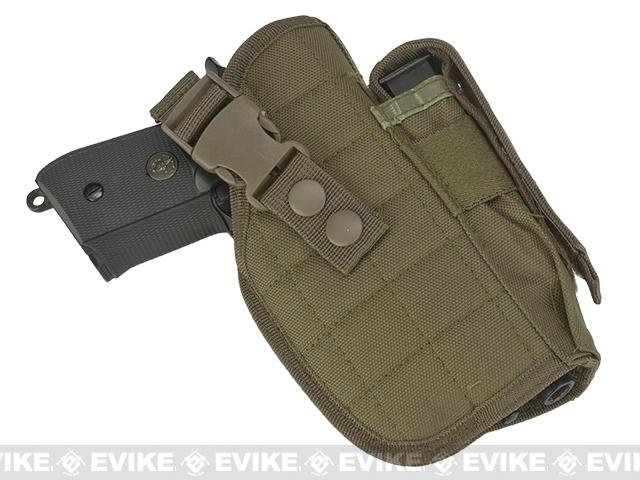 Universal Quick Draw Tactical Belt / MOLLE Holster w/ Mag Pouch (Right Hand) - Tan