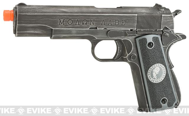 Evike.com Nostradamus Custom Armorer Works Molon Labe Gas Blowback Airsoft Pistol with Angel Custom Tac-Glove Grips (Sign: Aquarius)