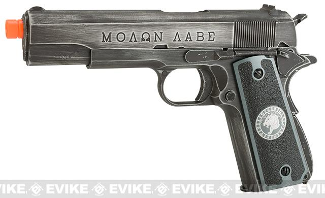 Evike.com Nostradamus Custom Armorer Works Molon Labe Gas Blowback Airsoft Pistol with Angel Custom Tac-Glove Grips (Sign: Leo)