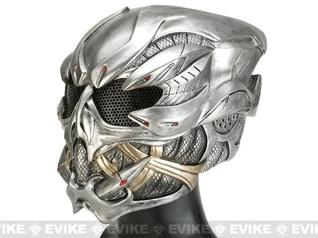 Evike.com R-Custom Fiberglass Wire Mesh Gunner Full Face Mask / Helmet - Silver