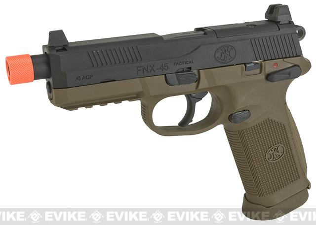 Cybergun FN Herstal Licensed FNX-45 Tactical Airsoft Gas Blowback Pistol by VFC (Color: Black Slide & Tan Frame)