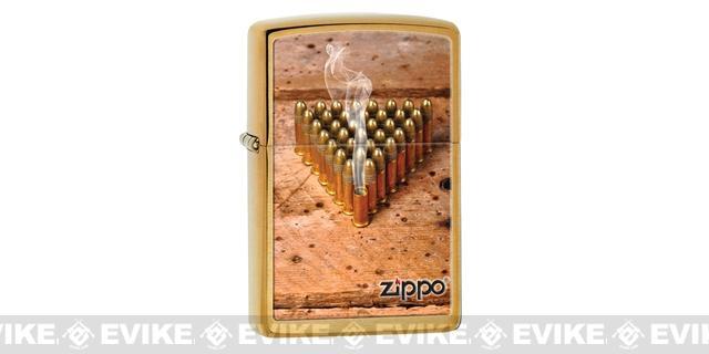 Zippo Classic Lighter - Bullets (Brushed Brass)